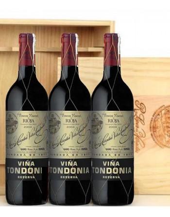 Pack 3 botellas Viña Tondonia Reserva en caja de madera