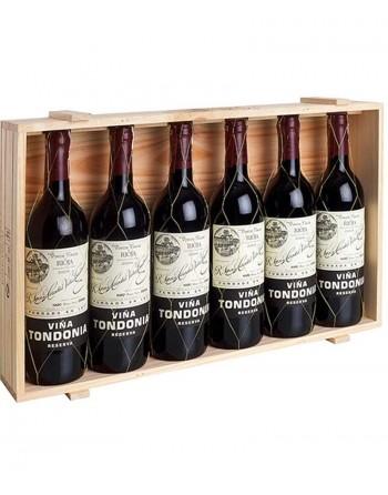 Pack 6 botellas Viña Tondonia Reserva en caja de madera