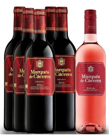 Oferta 5 botellas Marqués de Cáceres Crianza 2014 + 1 botella Marqués de Cáceres Rosado 2017 de regalo