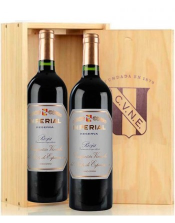 Pack 2 botellas Cune Imperial Reserva en caja de madera