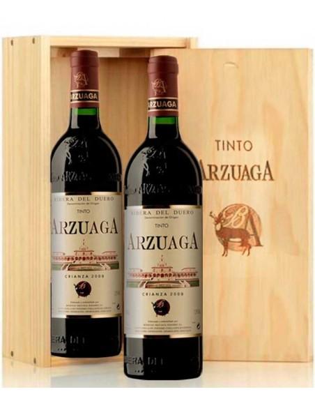 Pack 2 botellas Arzuaga Crianza en caja de madera