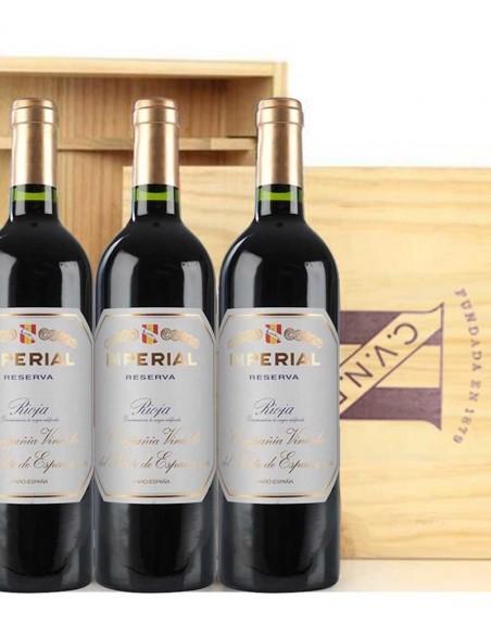 Pack 3 botellas Cune Imperial Reserva en caja de madera