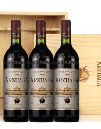 Pack 3 botellas Arzuaga Reserva en caja de madera