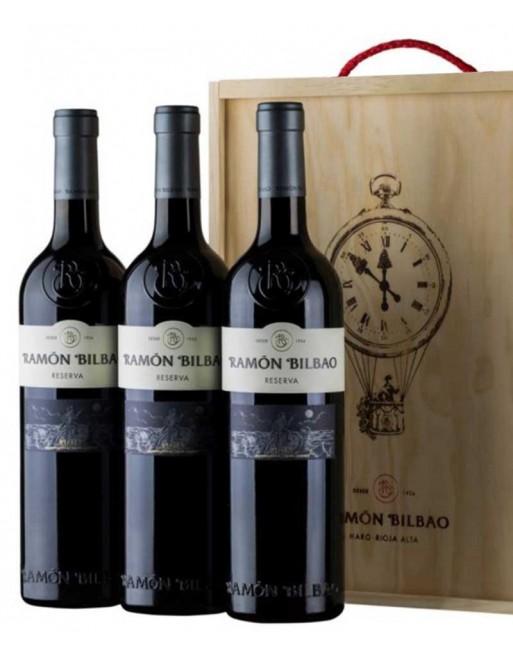 Pack 3 botellas Ramon Bilbao reserva en caja de madera