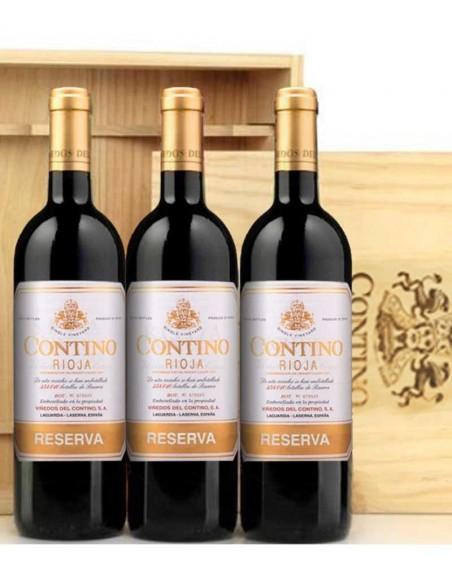 Pack 3 botellas Contino Reserva en caja de madera