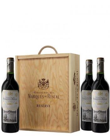 Pack 3 botellas Marqués de Riscal Reserva en caja de madera