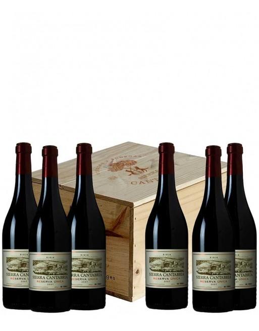 Pack 6 botellas Sierra Cantabria Reserva Única en caja de madera