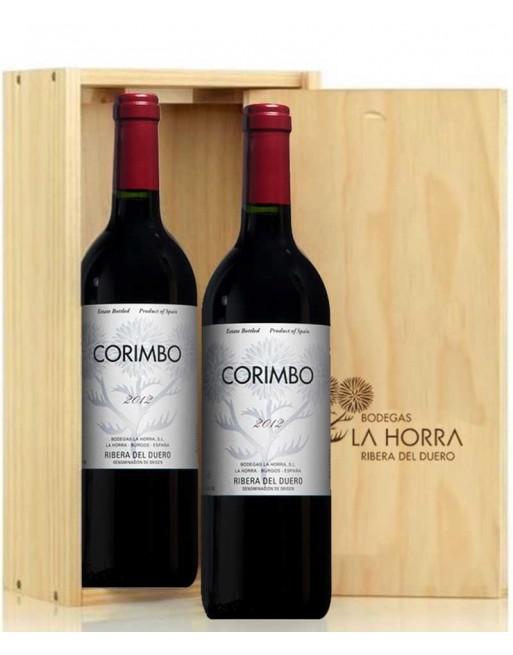 Pack 2 botellas Corimbo en caja de madera
