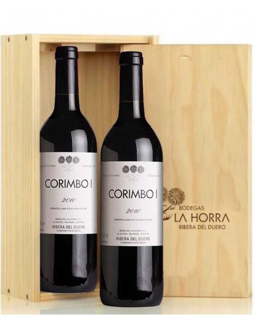 Pack 2 botellas Corimbo I en caja de madera