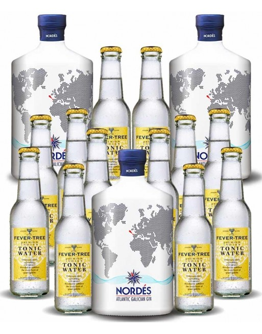 Pack 3 botellas Gin Nordés + 12 botellines de Fever Tree