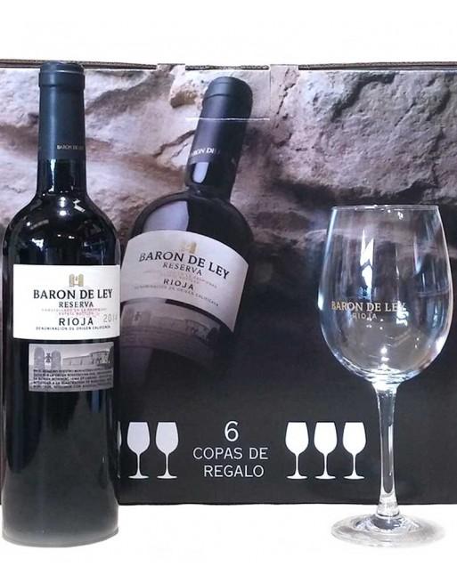 Pack 6 botellas Barón de Ley Reserva + 6 copas