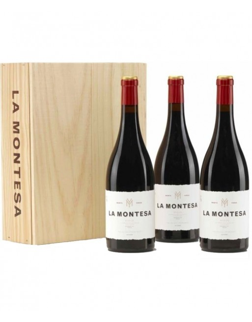 Pack 3 botellas La Montesa en caja de madera