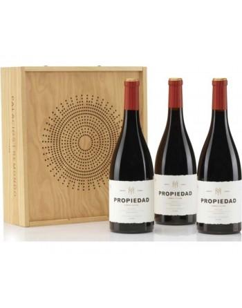 Pack 3 botellas Propiedad en caja de madera