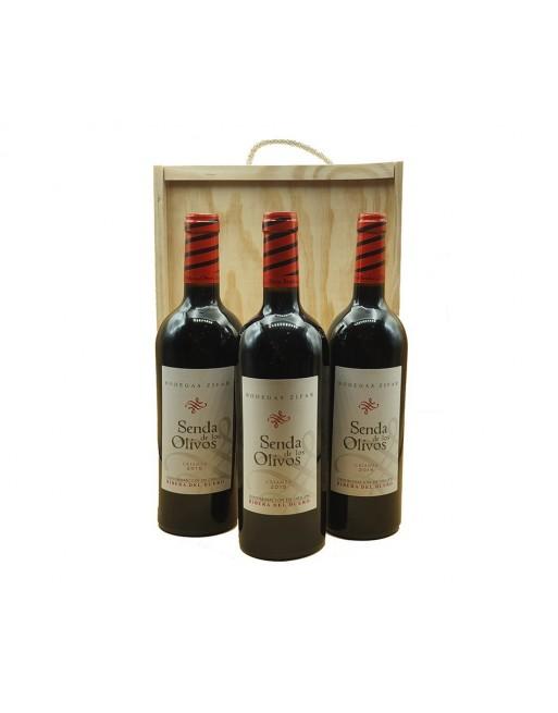 Pack 3 botellas Senda de los Olivos Crianza en caja de madera